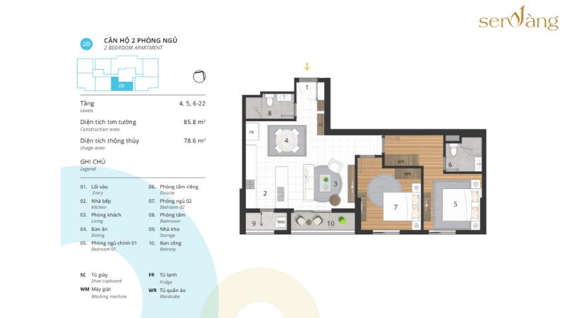 Phòng ngủ 2D – Diện tích thông thủy 78.6 m2 CENTRO – KOSMO TÂY HỒ