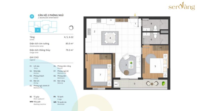 Phòng ngủ 2E – Diện tích thông thủy 79.3 m2 CENTRO – KOSMO TÂY HỒ