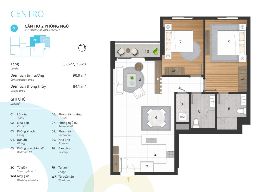 Phòng ngủ 2C/2CM – Diện tích thông thủy 84.1 m2 CENTRO – KOSMO TÂY HỒ
