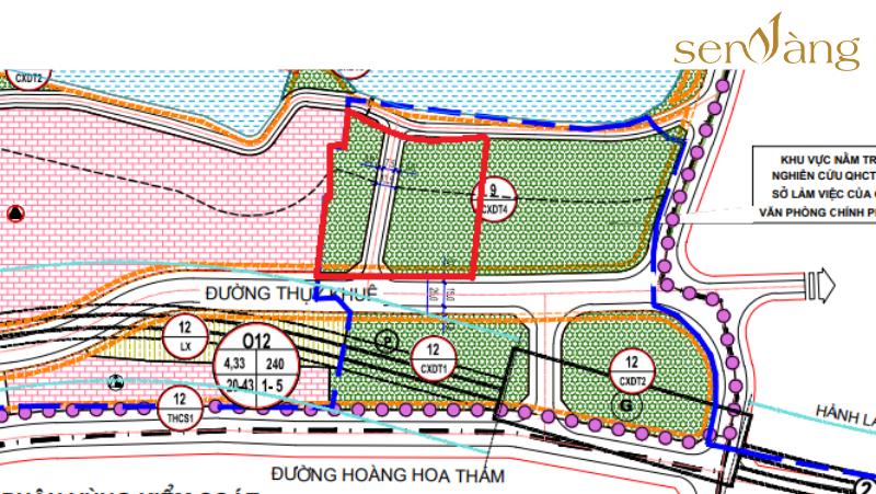 Khu đất nằm trong diện quy hoạch đất cây xanh đô thị trên bản đồ quy hoạch.