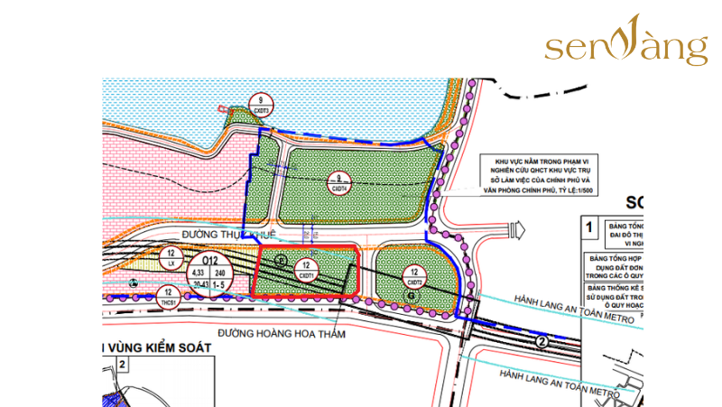 Vị trí khu đất dính quy hoạch trên bản đồ quy hoạch Phân khu A6.