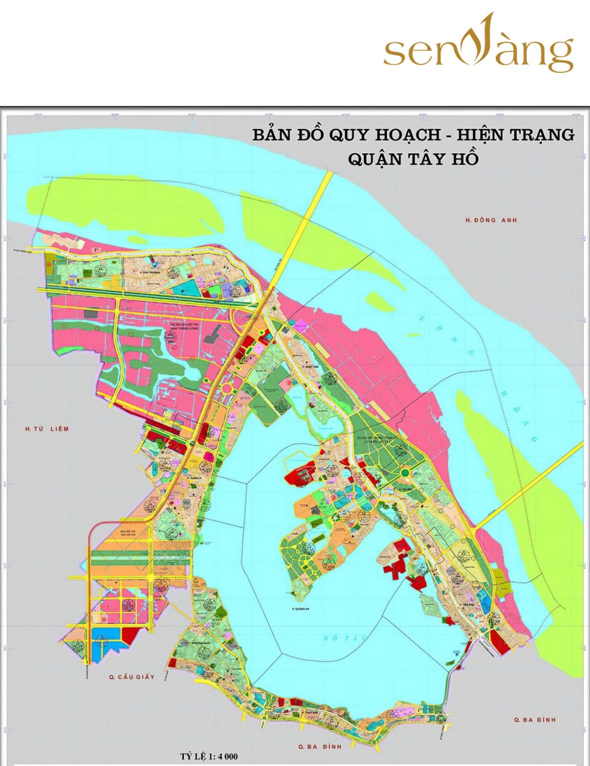Thông tin bản đồ quy hoạch đô thị quận Tây Hồ – Hà Nội