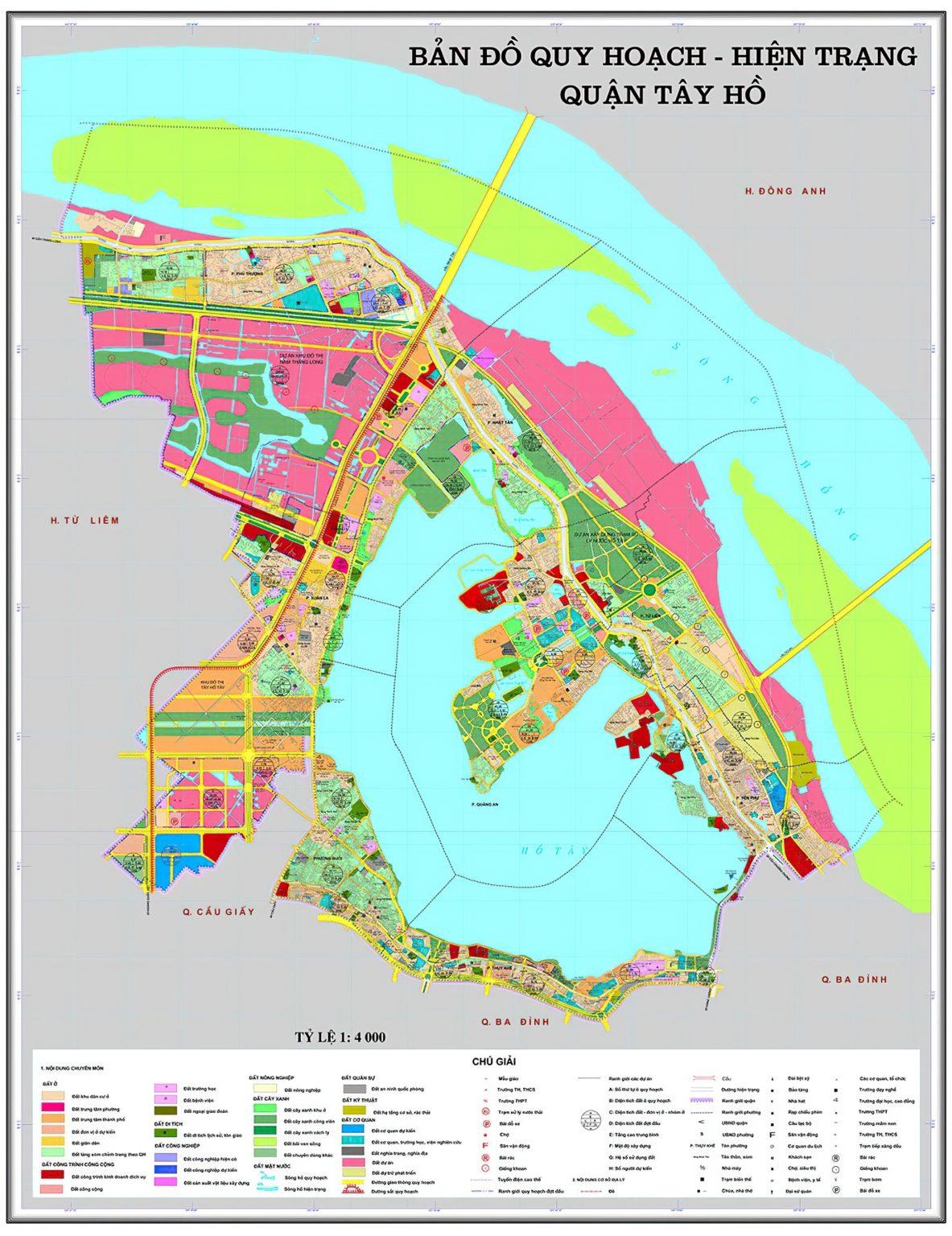Bản đồ quy hoạch đô thị quận Tây Hồ – Hà Nội